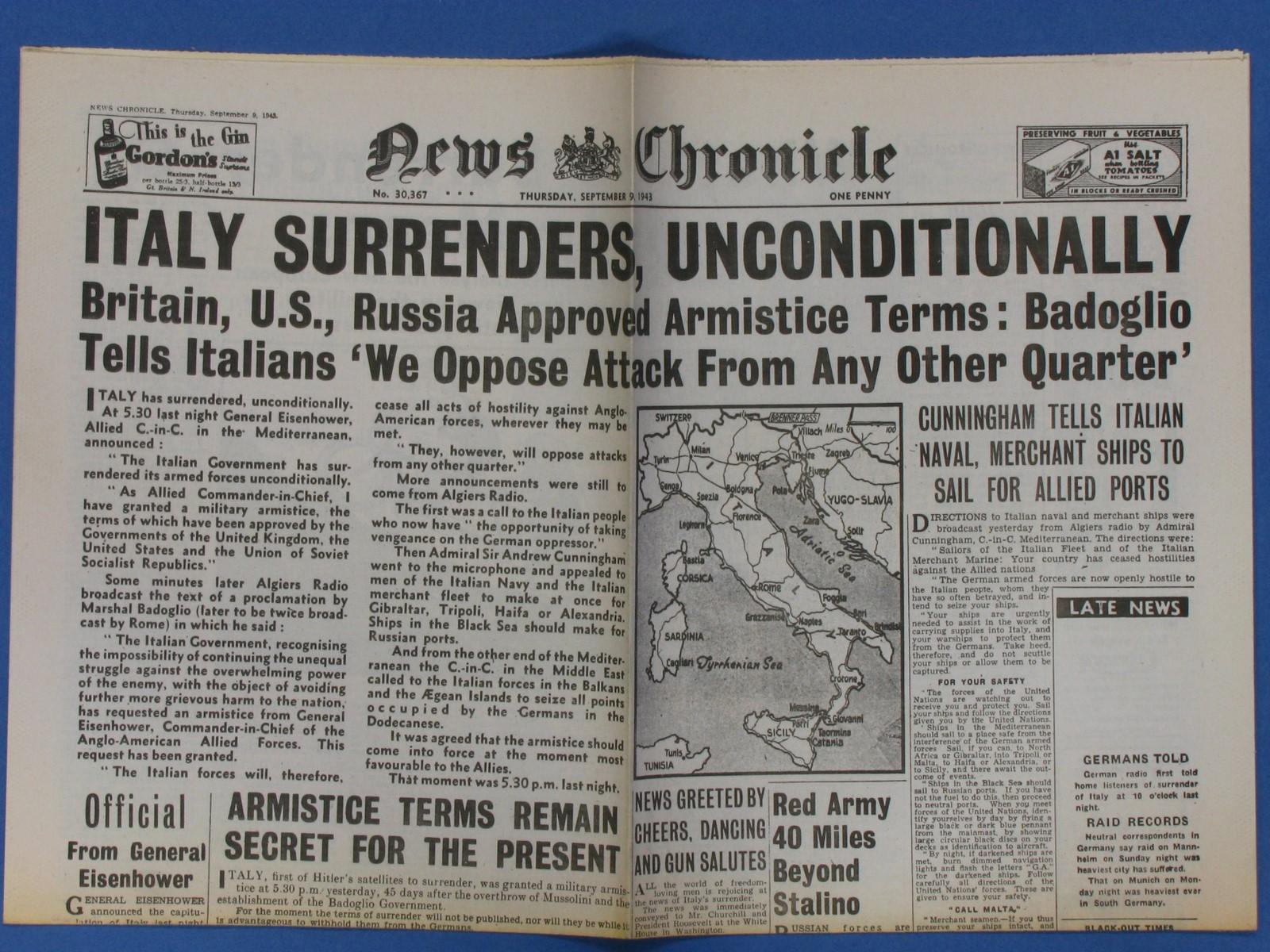 8 SETTEMBRE 1943 ARMISTIZIO O RESA INCONDIZIONATA?