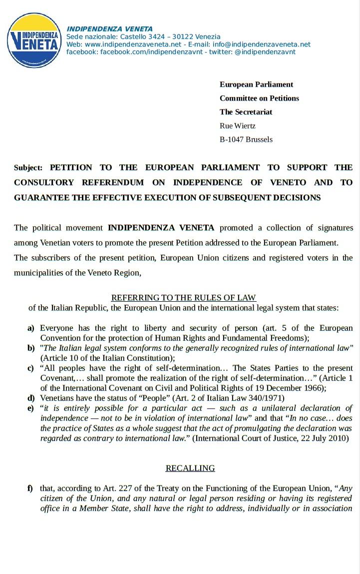 Indipendenza Veneta pronta per Bruxelles