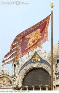 Venetian Flag and St Marks Basilica