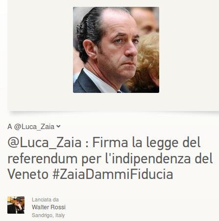 "#ZaiaDammiFiducia: ""Sostieni il referendum""."